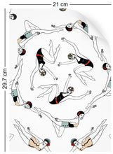 Load image into Gallery viewer, a4 wallpaper swatch with synchronised swimmer design in retro colours