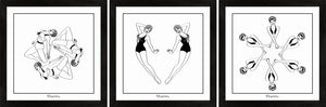 Set of three monochrome art prints featuring synchronised swimmers.