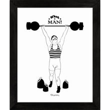 Load image into Gallery viewer, Monochrome art print of comical retro strongman lifting weights.