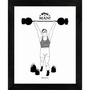 Monochrome art print of comical retro strongman lifting weights.