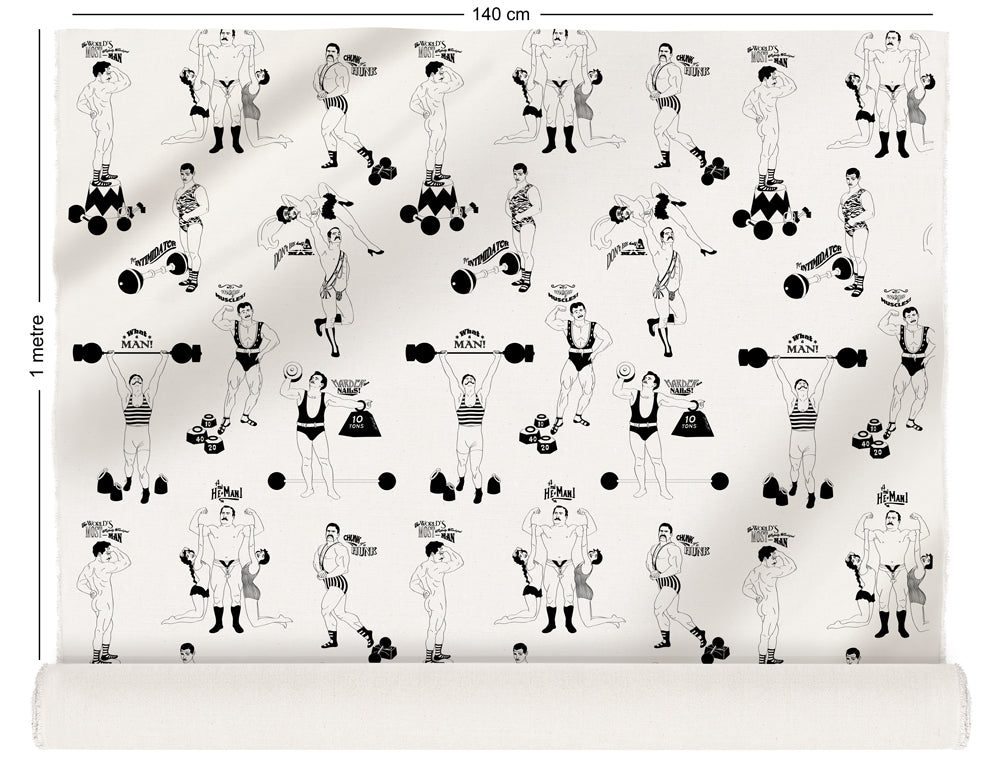 fabric roll with comical strongman design in black and white