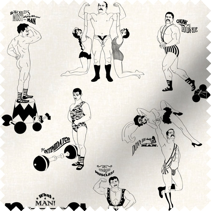 fabric swatch with comical strongman design in black and white