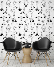 Load image into Gallery viewer, room shot with comical strongman wallpaper design in black and white