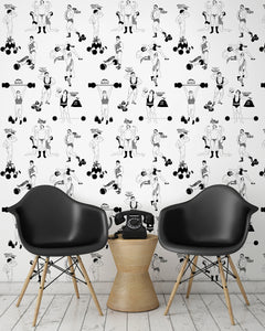 room shot with comical strongman wallpaper design in black and white