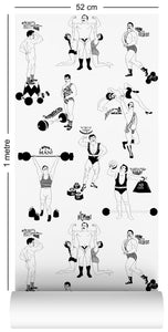 1m wallpaper swatch with comical strongman design in black and white