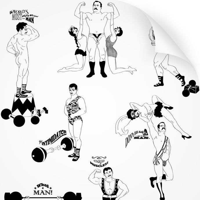 wallpaper swatch with comical strongman design in black and white