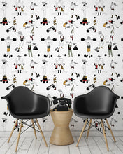 Load image into Gallery viewer, room shot with comical strongman wallpaper design in retro colours