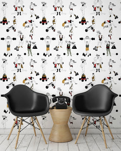 room shot with comical strongman wallpaper design in retro colours
