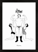 Load image into Gallery viewer, Monochrome art print of comical retro strongman lifting two ladies.