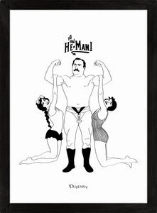 Monochrome art print of comical retro strongman lifting two ladies.