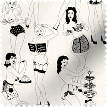 Load image into Gallery viewer, fabric swatch with sexy retro ladies serving tea and cake