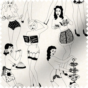 fabric swatch with sexy retro ladies serving tea and cake
