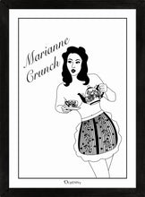 Load image into Gallery viewer, Monochrome art print of pinup girl pouring tea