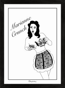 Monochrome art print of pinup girl pouring tea