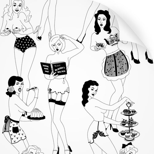 wallpaper swatch with sexy retro ladies serving tea and cake