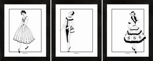 Vintage Dress (B&W) - Art Prints