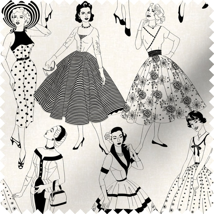 fabric swatch with vintage dresses and ladies fashion in monochrome