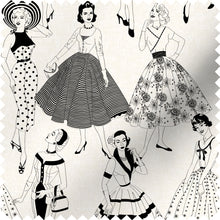 Load image into Gallery viewer, fabric swatch with vintage dresses and ladies fashion in monochrome