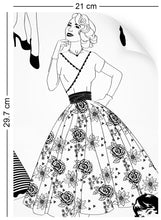 Load image into Gallery viewer, a4 wallpaper swatch with vintage dresses and ladies fashion in monochrome