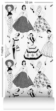 Load image into Gallery viewer, 1m wallpaper swatch with vintage dresses and ladies fashion in monochrome