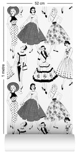 1m wallpaper swatch with vintage dresses and ladies fashion in monochrome