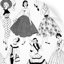 Load image into Gallery viewer, wallpaper swatch with vintage dresses and ladies fashion in monochrome