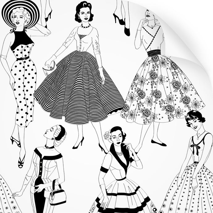 wallpaper swatch with vintage dresses and ladies fashion in monochrome