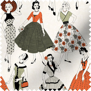 fabric swatch with vintage dresses and ladies fashion in retro colours