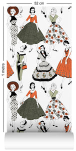 1m wallpaper swatch with vintage dresses and ladies fashion in retro colours