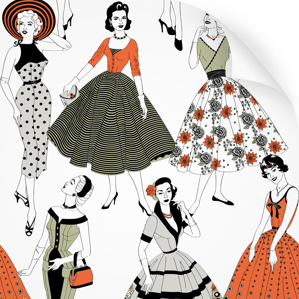 wallpaper swatch with vintage dresses and ladies fashion in retro colours