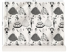 Load image into Gallery viewer, fabric roll with vintage dresses and ladies fashion in monochrome