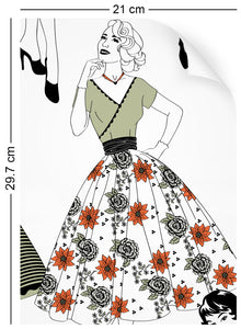 a4 wallpaper swatch with vintage dresses and ladies fashion in retro colours