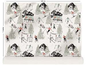 fabric roll with winter skiing and sledding in retro colours