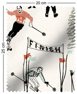 fabric swatch with 50s style winter skiing and sledding in retro colours