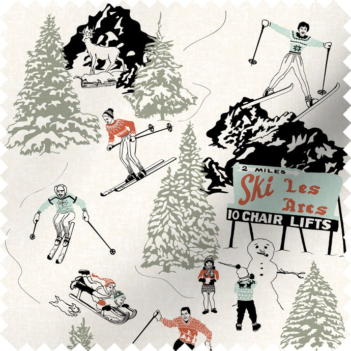 fabric swatch with winter skiing and sledding in retro colours