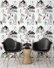 Load image into Gallery viewer, room shot with winter skiing and sledding wallpaper design in retro colours