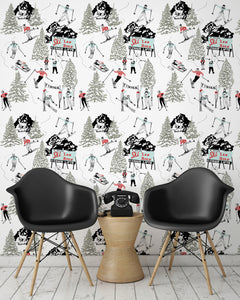 room shot with winter skiing and sledding wallpaper design in retro colours