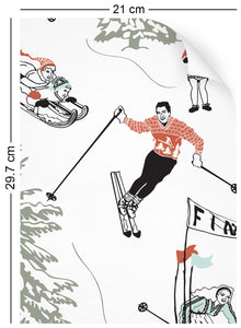 a4 wallpaper swatch with winter skiing and sledding in retro colours