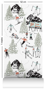 wallpaper roll with winter skiing and sledding in retro colours