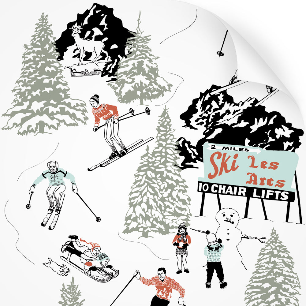 wallpaper swatch with winter skiing and sledding in retro colours
