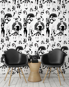 room shot with burlesque dancer design in monochrome with red lips