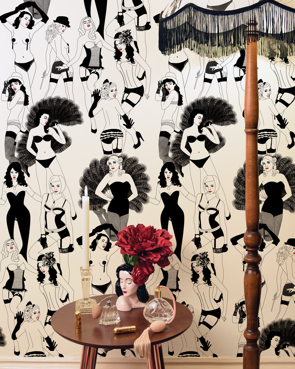 Dupenny's infamous Burlesque Wallpaper featuring sultry red lips