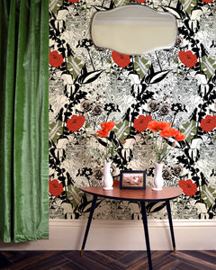 Dupenny's pretty English Garden wallpaper in Colour