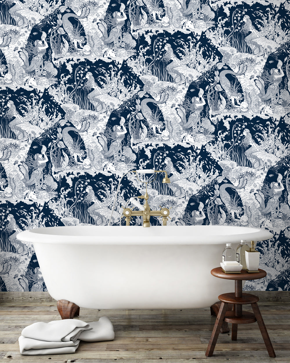 Mermaids - Wallpaper (Navy)