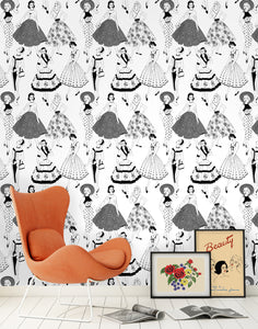 Vintage Dress (B&W) - Wallpaper Samples