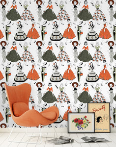 Vintage Dress (Colour) - Wallpaper Sample
