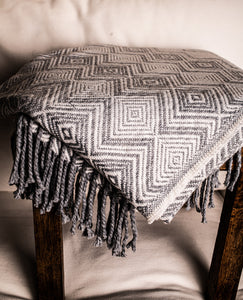 Dark Grey and White Throw