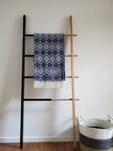 Indigo Blue and White Throw
