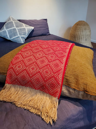 Royal Red and Gold Throw