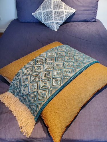 Royal Green and Gold Throw